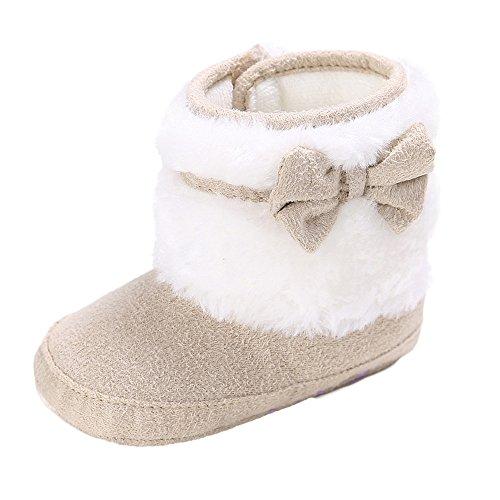 Robemon Babyschuhe aus weichem Leder, für die ersten Schritte, für Kinder, warm, Plüsch, Winterstiefel, Schneestiefel für Babys, Jungen und Bambin, 0 - 18 Monate Gr. 12-18 Monate, beige -