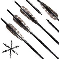 Narchery Bogen Pfeile, 31 Zoll Carbon Pfeile für Bogenschießen mit Naturfeder, Jagdpfeile für Bogen, traditionellen Bogen, Recurvebogen und Langbogen