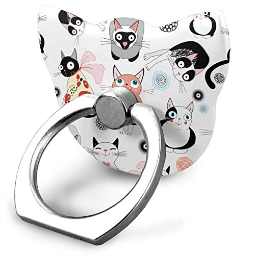 Nicegift Lead Free - Safe for Children Fidget Toy Hand Spinner Curly Tail Cats Pattern Phone Ring 360 Degree Rotating Ring Grip Anti Drop Finger Holder for iPhone iPad and All Cellphone -