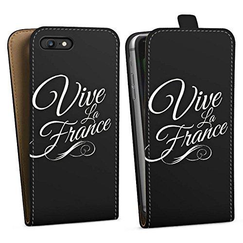 Apple iPhone 8 Silikon Hülle Case Schutzhülle Vive la France ohne Hintergrund Frankreich Downflip Tasche schwarz