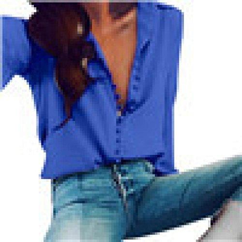 TianWlio Langarm Bluse Damen Frauen Chiffon Langarm Revers Kragen Button Down Shirt Tops Bluse Damen Beiläufige Feste Lange Hülsen Bluse Revers Hemd