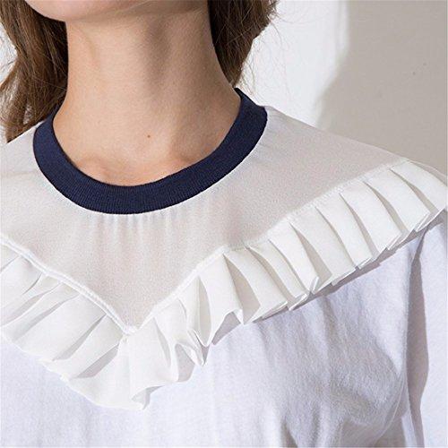 Le Style Blanc Marine Col Rond Manches Courtes T-Shirt Top Blouse Occasionnel Lache Des Femmes De Blanc