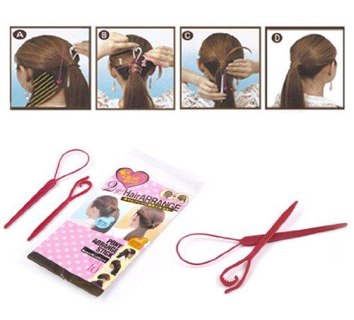 Housweety 1 Paquet Chignons Cheveux Accessoires Plastique Rouge 18.5x4.3cm 14.5x2.6cmJ00165