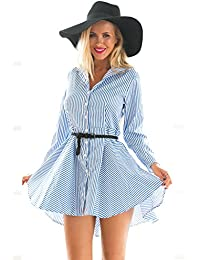 Lookbook Store® Damen Blaues Langärmliges A-Linie Smokinghemd Eislaufkleid mit Nadelstreifen Reißverschluss