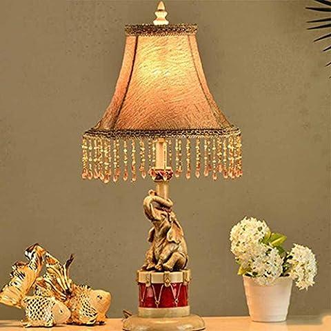 Creativo resina semplice panno Baby Elephant Table Lamp Den Soggiorno Camera da letto comodino lampada da tavolo [Efficienza: A +] ( edizione : Interruttore dimmer )