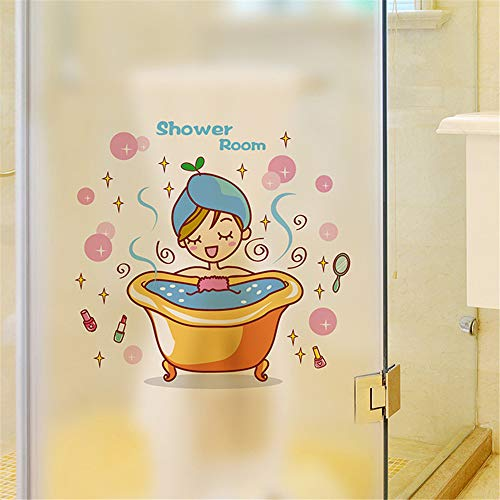 Schöne Mädchen In Der Badewanne Glastür Wandaufkleber Dusche Wasserdicht Badezimmer Home Decoration Art Decals Aufkleber Tapete (Für Glastüren Duschen Badewanne)