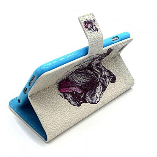 Uklayfe Book Style Design Portafoglio Custodia in pelle Cuoio Custodia Protettiva Portafoglio Flip Case Cover per iphone 6 Plus/6S Plus (5.5 pollice) con funzione di supporto e chiusura magnetica Con  Shar Pei