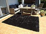 Amazinggirl WohnzimmerteppichHochflor Teppich Shaggy für Wohnzimmer Schlafzimmer Langflor Hochflorteppich Läufer flauschig waschbareinfarbig (schwarz 160 x 230 cm)