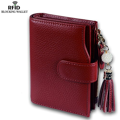 Befen Women's Full Grain Leather RFID Blocking Multi Card Organizer Wallet Wristlet with Zipper Pockets and Wrist Strap for iPhone 7/6s/6 Plus - Black Burgundy RFID Bifold Wallet