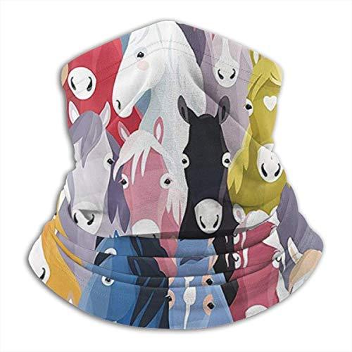 Bunte Cartoon Pferde Pony Kindheit Muster Nackenwärmer Gamasche, Polar Fleece Ski Gesichtsmaske Abdeckung für Winter Kaltes Wetter &
