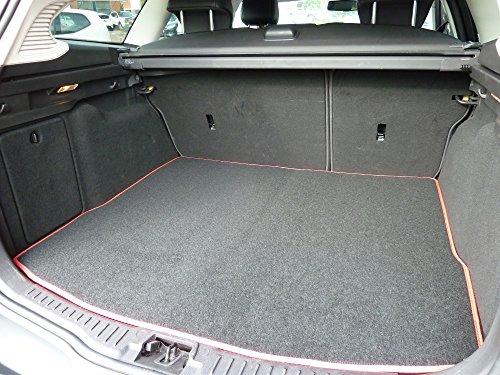 Preisvergleich Produktbild Individuell gefertigte und anpassbare luxuriöse Kofferraumauskleidung aus Velours für Ford Mondeo (MK 3) 2000-2006 von Connected Essentials - schwarz mit rotem Rand