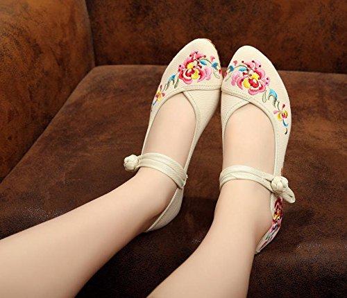DESY pattini ricamati, biancheria, unico tendine, stile etnico, scarpe femminili, di moda, comodo beige