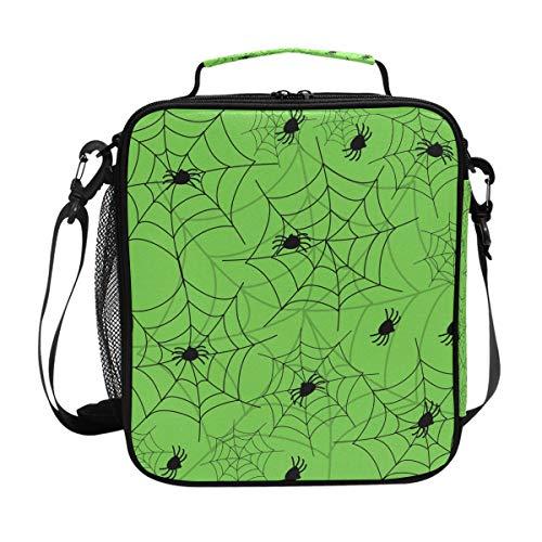 Deziro Lunch-Tasche, isoliert, Motiv Halloween, Spinne, grüner Hintergrund