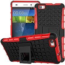 MoKo Huawei P8 Lite Funda - Heavy Duty Rugged Dual Layer Armor with Kickstand Protective Cover para Huawei Mate P8 Lite 5 inch Smartphone, Rojo