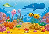 Poster für Kinder - Unterwasserwelt HD XXL - 118,8 x 84 cm - Farbenfrohe Unterwasserwelt mit lustigen Meerestieren - Schöne Wanddekoration für das Kinderzimmer und den Kindergarten oder als Geschenkidee | Hochauflösende Wanddekoration von ARTBAY