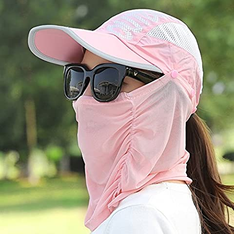 nsxbzz *Sun cap Summer Children Riding Face Visor Outdoor Tour wild foldable black face HATS female are Code Pink