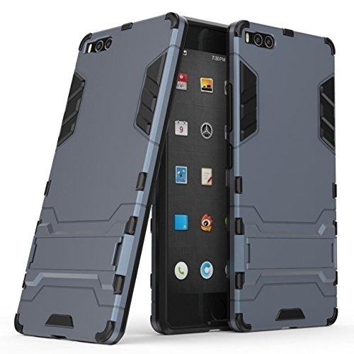 Happy-L Hülle Für Smartisan U1 Pro (2017), 2-in-1-Eisenrüstung Tough Style Hybrid-Zweischichtrüstung Defender PC + TPU Hartschalen-Schutzhülle mit stoßsicherem Standfuß (Farbe : Blau Schwarz)
