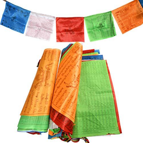Buygoo bandierine tibetane bandiere di preghiera buddista tibetana in poliestere bandiere 40 bandiere da 34 * 34cm, lunghezza in totale 14m