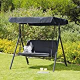 2 Seater Garden Swing Chair - Black