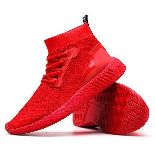 Hohe Hilfe Laufschuhe Herren,ABSOAR Männer Weben Sportschuhe Socken Schuhe Weiche Sohle Turnschuhe 2018 Sommer Sneaker Mode Rund Zeh Flach Freizeitschuhe (EU:38.5/CN:39, Rot)
