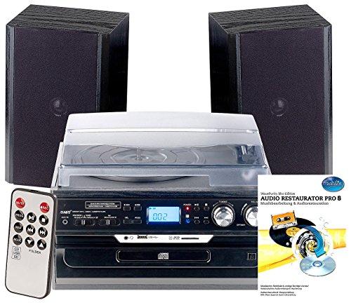 auvisio Stereoanlage: 5in1-Plattenspieler mit Bluetooth, Digitalisier-Funktion, Software (Schallplatten Digitalisieren)