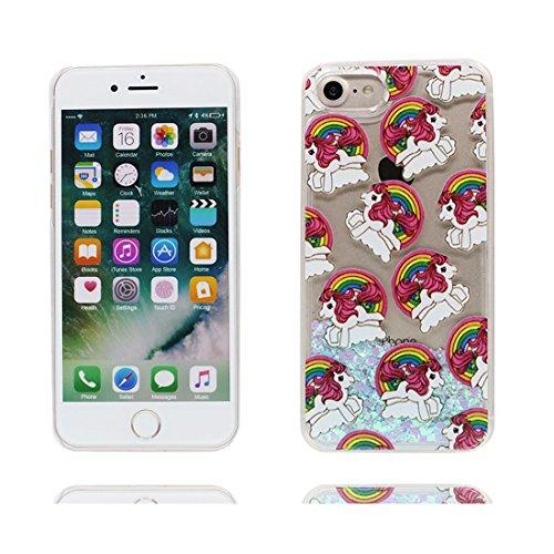 iPhone 7 Custodia, 3D Bling che scorre liquido scintillante disegno rigido TPU indietro Case Cover Copertura per iPhone 7 4.7 - cavallo Unicorno - Graffi Resistenti # 2
