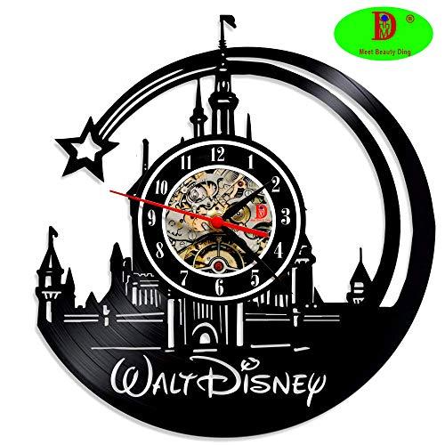 Meet Beauty Ding Kreative Wanduhr, Vinyl-Schallplatten, einzigartiges Disney-Schloss, Ultra-leises Quarz-Uhrwerk, Durchmesser: 30,5 cm, Schwarz