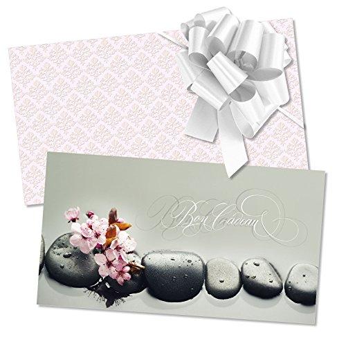 25 Bons cadeaux + 25 enveloppes + 25 noeuds rubans pour kinésithérapie, énergétique, bien-être, wellness et spa MA1257F