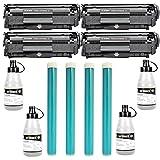 JET BLACK 12A Compatible Value Pack Toner Cartridge + Toner Powder (120grm) + OPC Drum For HP and CANON Laser Printers Set of 4 - Black