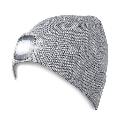 PRAVETTE Strickmütze mit Licht,4 LED Unisex Mütze Hut USB Wiederaufladbare Hands...