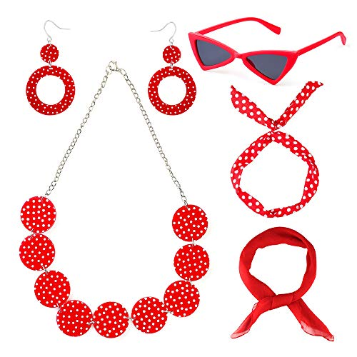 Beefunny 50er Kostüm Schal Polka Dot Stirnband Ohrring Cat Eye Brille Halskette, Zubehör Set (Rot) (Cat Eye Brillen Der 50er Jahre Kostüm)