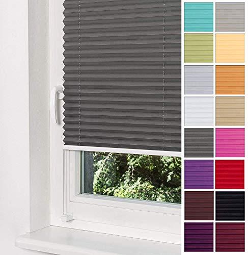 Home-Vision Premium Plissee Faltrollo ohne Bohren mit Klemmträger / -fix (Graphit, B50cm x H200cm) Blickdicht Sonnenschutz Jalousie für Fenster & Tür