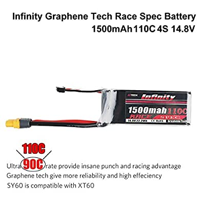 Infinity Graphene 1500mAh 4S LiPo Battery 14.8V 110C SY60 Plug Compatible with XT60 for Racing Drone Multirotors