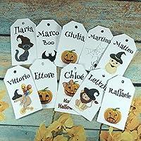 10 cartellini tag bigliettini personalizzati Halloween con nomi stampati, 10 disegni esclusivi, per segnaposto, biglietti per regali, decorazioni casa