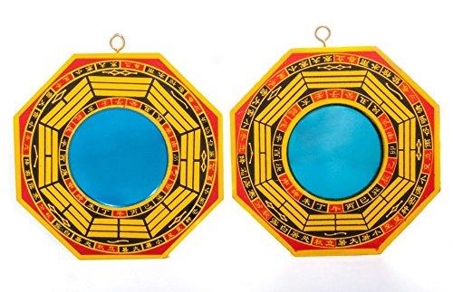 DMtse 10,2cm Bagua Mirror Set di 2passivo per. Uno Specchio concavo per Protezione Contro energia negativa e Uno Specchio Convesso per Protezione Contro Active nocivo energia