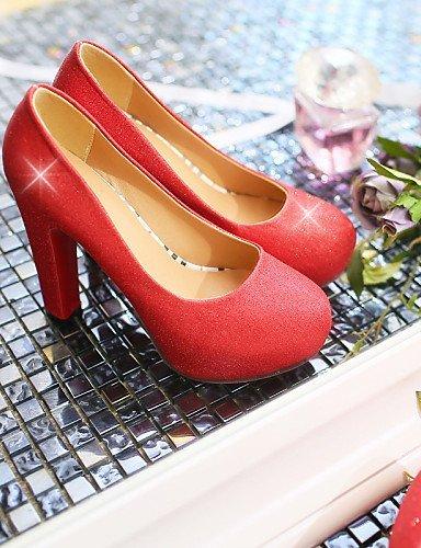 ShangYi Damenschuhe - High Heels - Hochzeit / Kleid / Lässig - Kunstleder - Stöckelabsatz - Absätze / Plateau -Schwarz / Blau / Rot / Silber / Red