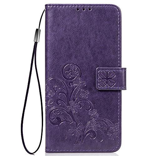 LNLYY Echt Leder Geldbörse Flip Folio Kartenfächer Schutzhülle für Samsung Galaxy ON5/O5/G550 Hülle Lila