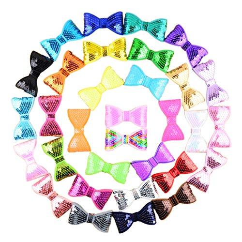 Baby Bow Clip, Fascigirl 20 Stücke Kinder Haarschmuck Stickerei Bogen Clips Pailletten Haarspangen (Boutique Baby-bögen)
