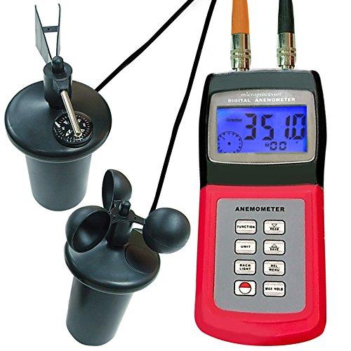 Anemómetro digital multifuncional con sensor de 3 tazas, indicador de flujo de aire portátil, indicador...