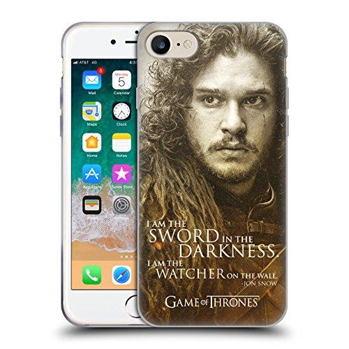 Head Case Designs Ufficiale HBO Game of Thrones Jon Snow Ritratti dei Personaggi Cover Morbida in Gel per iPhone 7 / iPhone 8