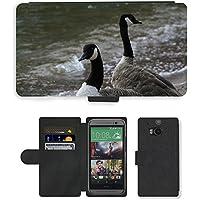Grand Phone Cases PU Flip Carcasa Funda de Cuero Piel Cubre Case // M00140695 Branta Canadensis Canada Goose Uccello // HTC One M8