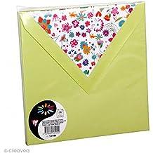 Lot de 10 Sachets de 10 enveloppes 120g 14x14cm coloris vert bourgon doublure Doudou