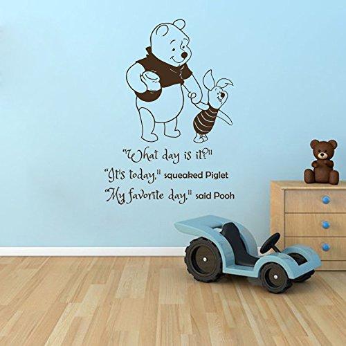 Vinyl Wandtattoo Winnie Puuh the Pooh Zitat Mein Lieblingstag What Day Is It? My Favorite Day Ferkel Baby Bär Kinder Wandaufkleber Wandsticker Wanddekoration Schlafzimmer Kinderzimmer Babyzimmer A349 (Pooh-der-bär-wand-dekor)