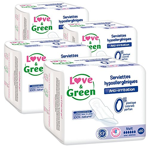 Love & Green Serviettes Hypoallergéniques Nuit 0% x 10 - Lot de 4