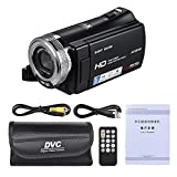 Andoer V12 1080P Full HD 16X Digital Zoom Recording Video Camera Portable Camcorder with 3.0 Inch Rotatable LCD Screen Max. 20 Mega Pixels Support Night Vision Face Detection Face Beautification