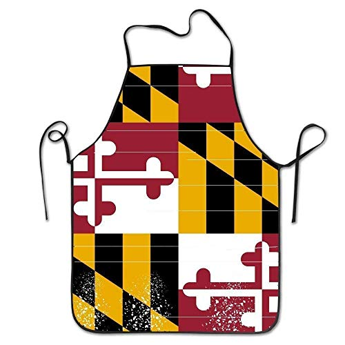 tsyhtshehs Fashion Flag of Maryland Adjustable Bib Chef Apron Home Kitchen Apron for BBQ Easy Care Flag-peeling