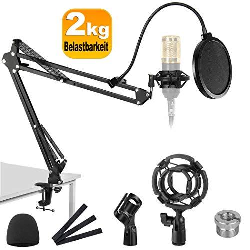 Einstellbare Faltbare Mikrofonständer Profesionelle Mikrofonhalter Mikrofonarm mit Spinne Montage auf dem Schreibtisch für Studio, Programm-Aufnahme, Rundfunk, Fernsehsender
