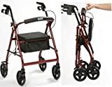 Drive Medical R8 Rollator 4 Wheel Walker Lightweight Walking Frame Dark Red