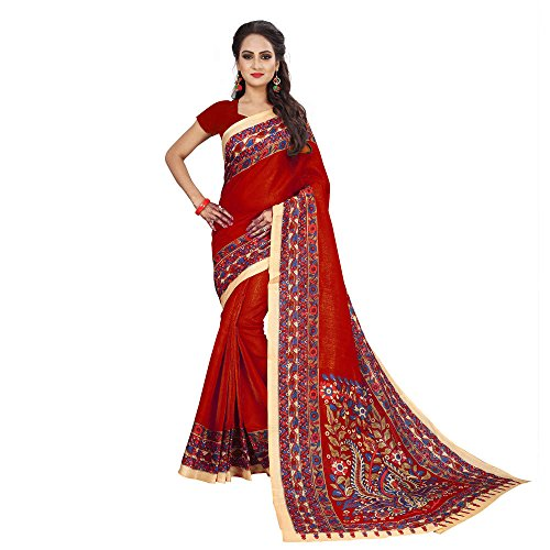 Indische Wedding Collection of Printed Bhagalpuri Art Silk Saree,Sari,Birthday Dress, Geburtstag, Indische Kleid,Hippie Kleid,Indian Saree,Traditional,Causal (Red) - Red Sari