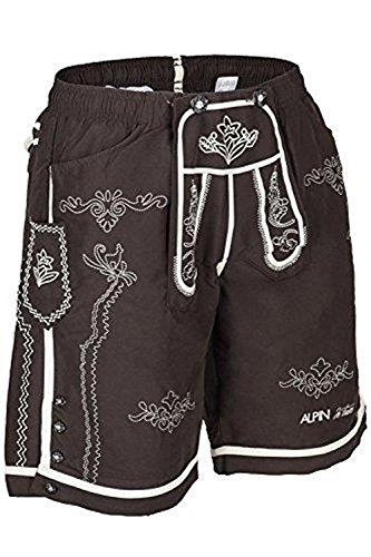 Alpine Design Hose (Badeshorts im Trachtendesign, braun, L)
